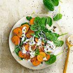 zoete aardappel met spinazie en mierikswortel   delicious