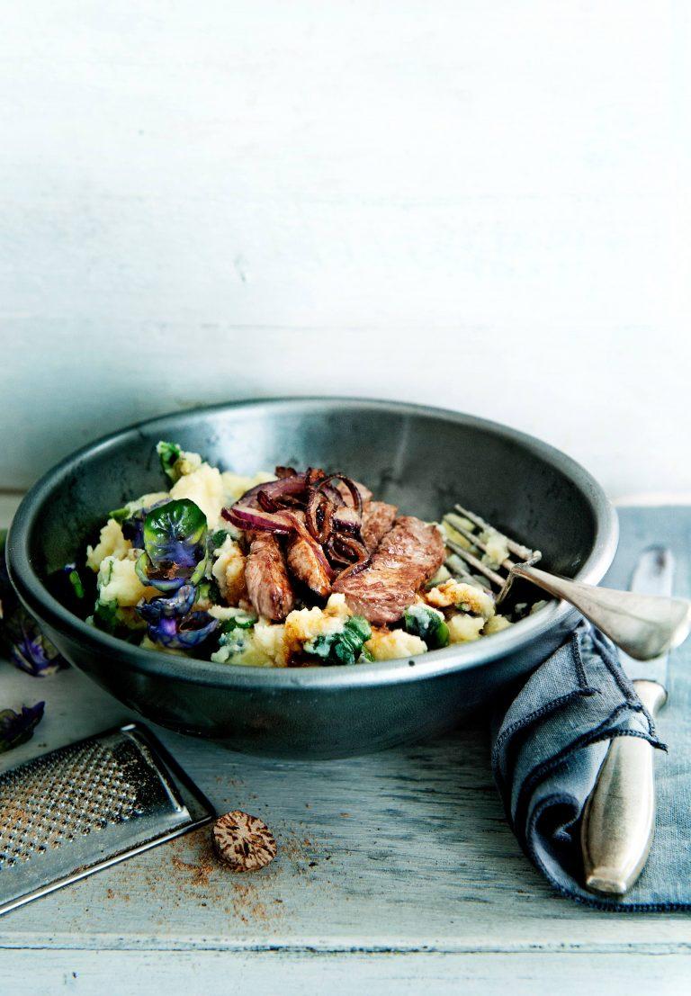 groentestamppot met biefstuk en ui