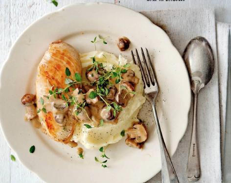 kip met romige champignonsaus en puree