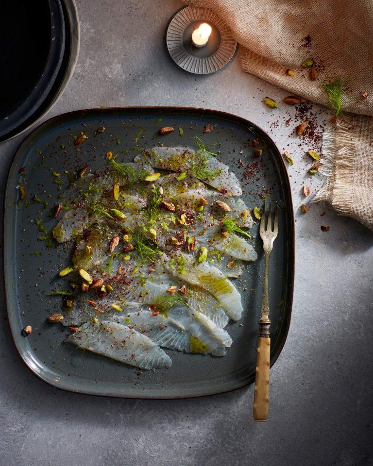 dungesneden heilbot met pistache & venkelgroen