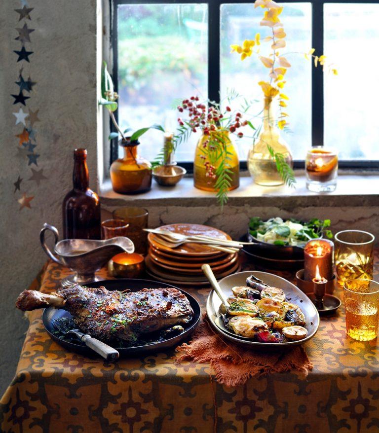 lamsschouder met dragonaardappels en pastissaus