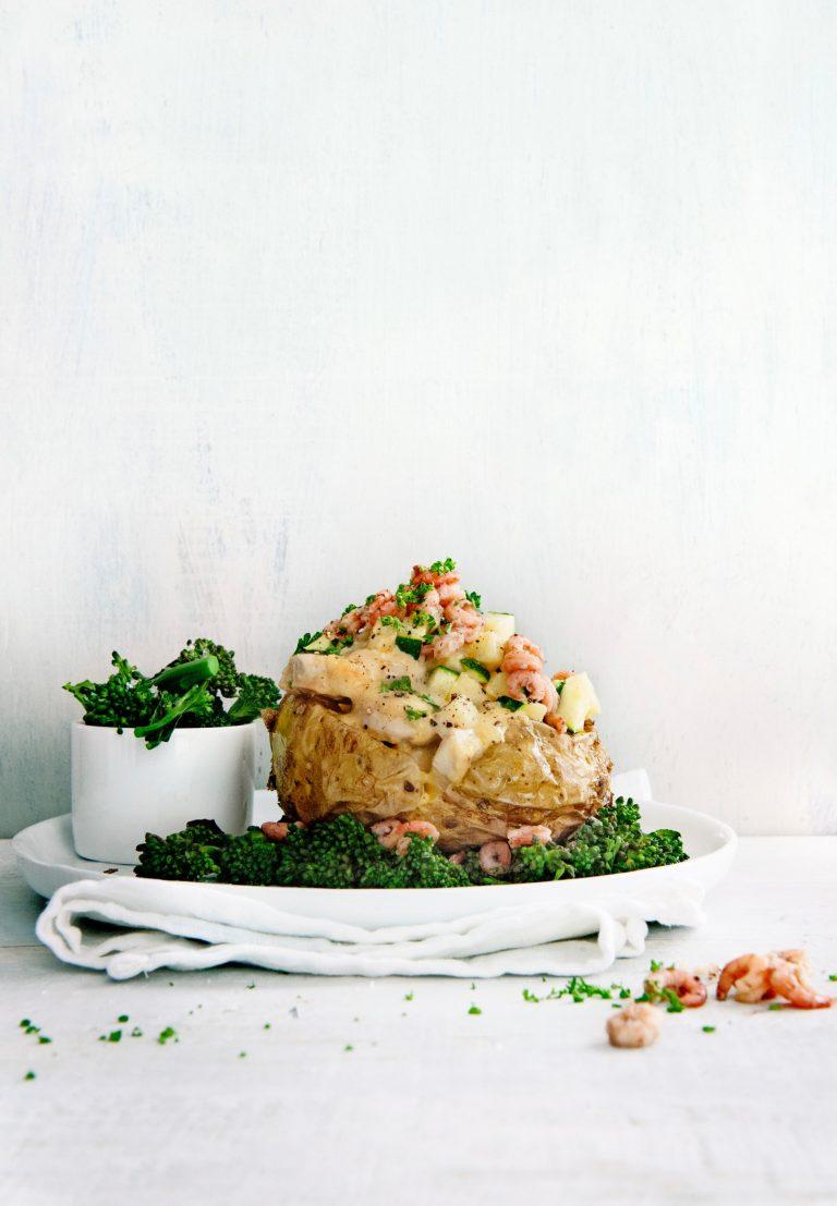 pofaardappel met romige kip en garnalen