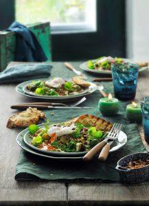 speltsalade met spruitjes en gepocheerde ei-delicious