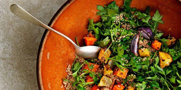 quinoa met geroosterde aardpeer en zoete aardappel