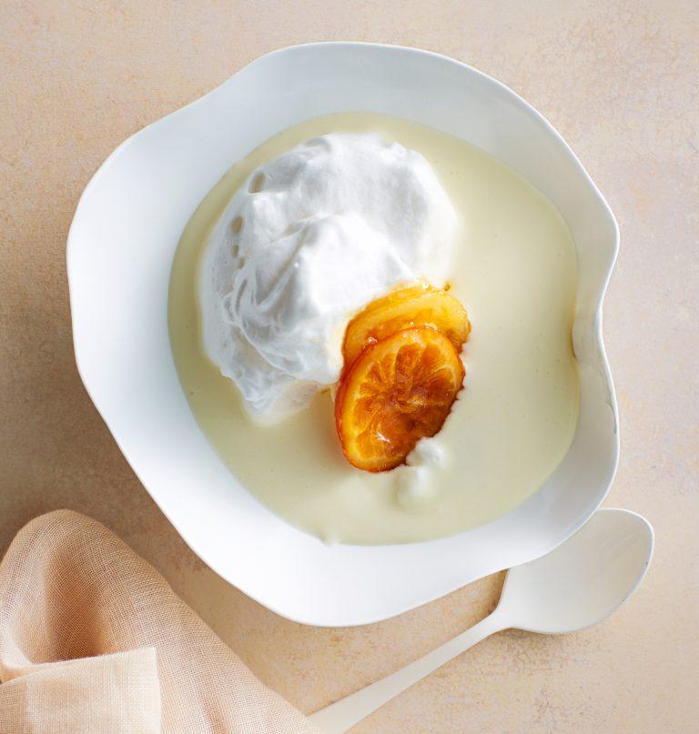 oranjebloesemvla met meringue en gekonfijte citrus