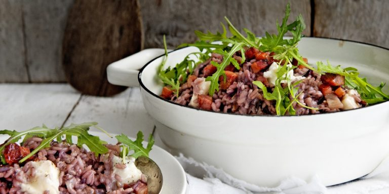 risotto met radicchio, spek en gorgonzola