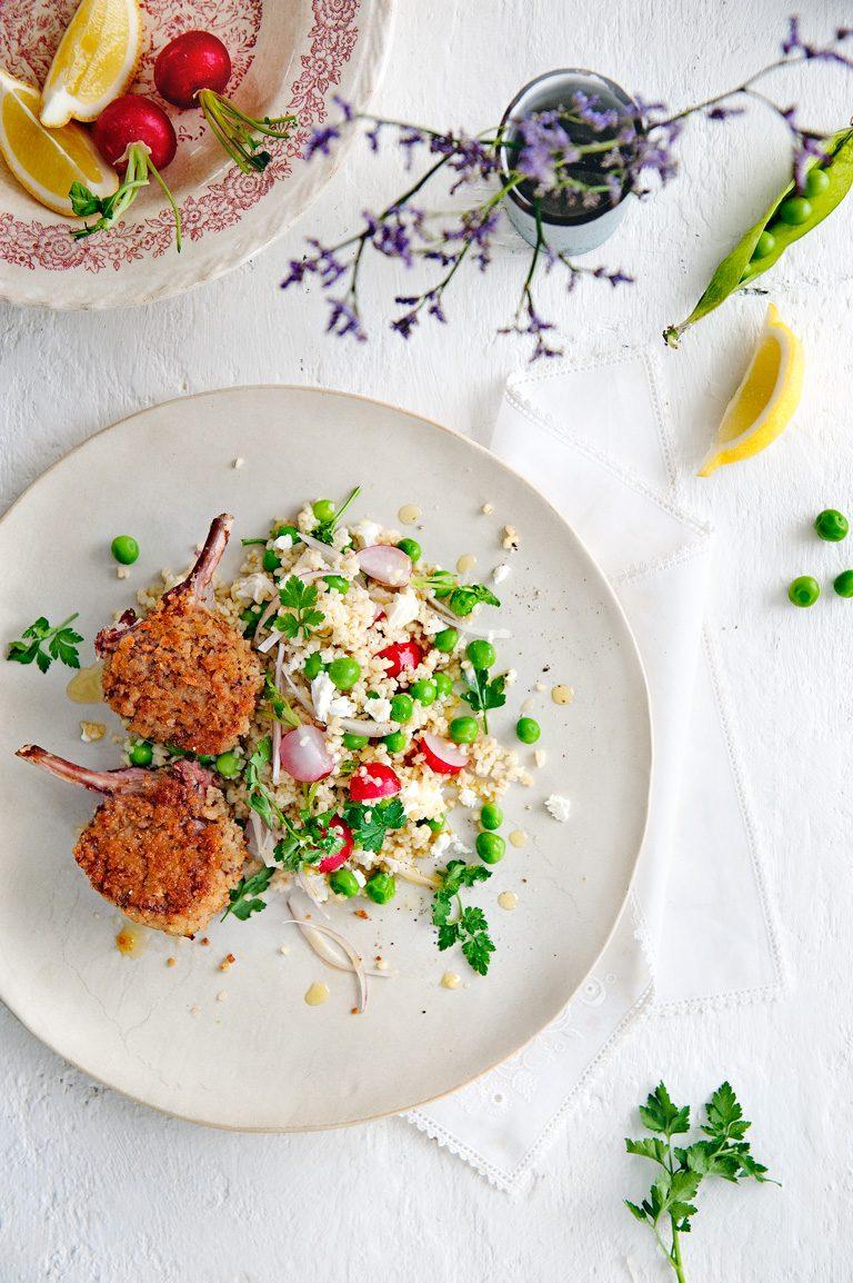 krokante lamskoteletjes met lentesalade | delicious