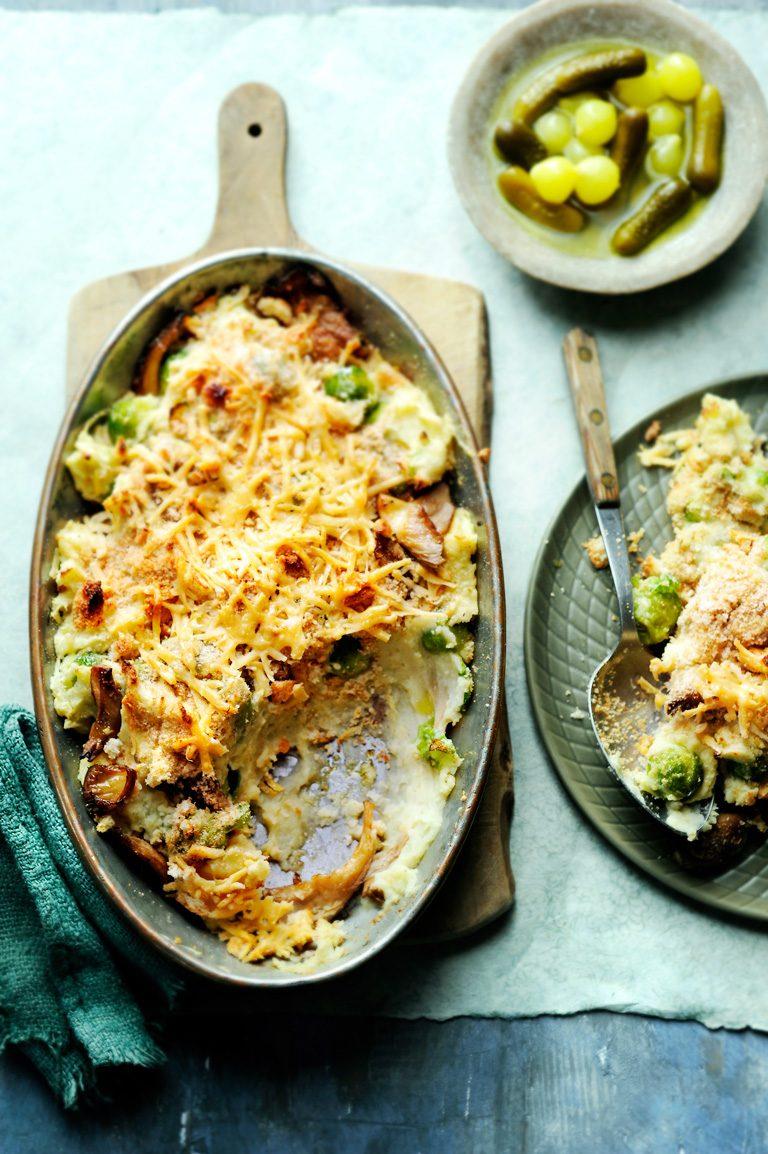 spruitjesstamppot met oesterzwammen en oude kaas   delicious