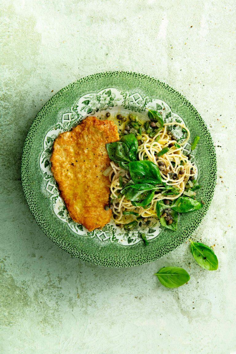 Kalkoenpiccata met basilicumspaghetti - delicious