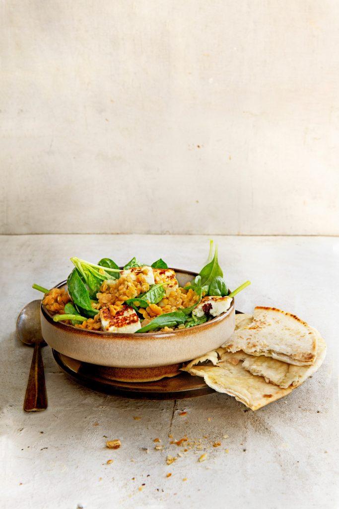 Linzen dahl met spinazie en paneer - delicious