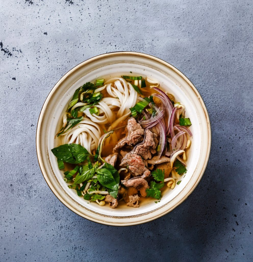 Pho Bo vietnamese Soup with beef in bowl - delicious