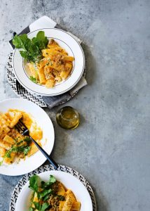 pasta met pompoen, pecorino en citroentijmkruim - delicious