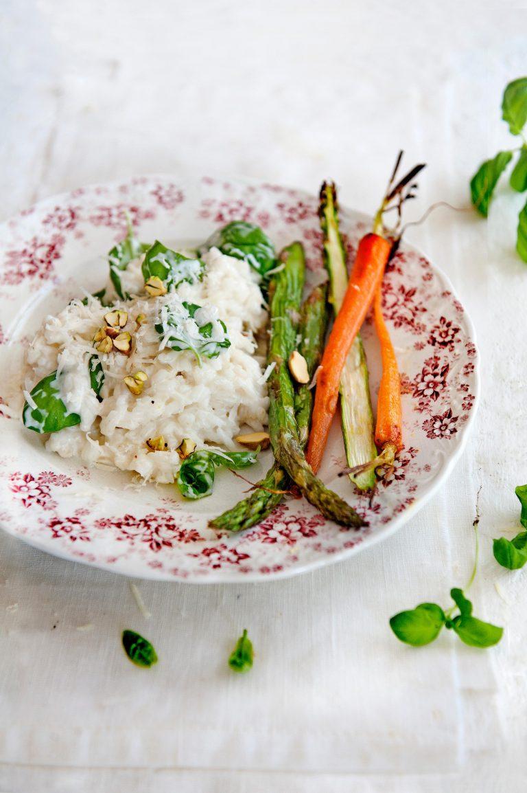 risotto met basilicum en geroosterde groenten - delicious
