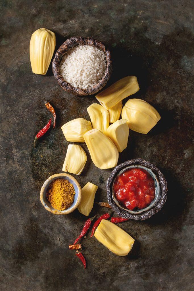 jackfruit and ingredients - delicious