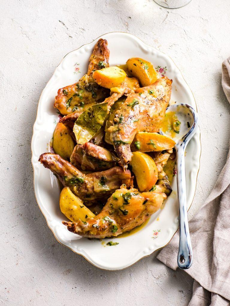gebraden konijn met sinaasappel en dragon - delicious