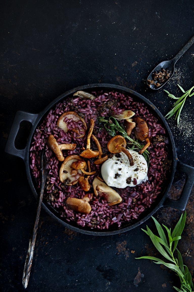 Truffelrisotto met paddenstoelen en burrata