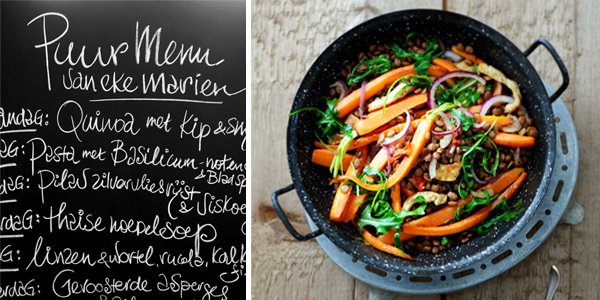 Linzen met wortel en kalkoenfilet